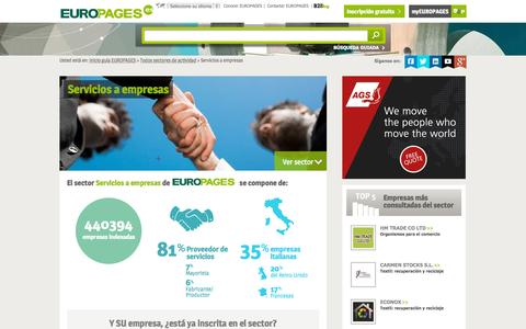 Screenshot of europages.es - Servicios a empresas , todos los proveedores para España y Europa de EUROPAGES - captured Sept. 12, 2015