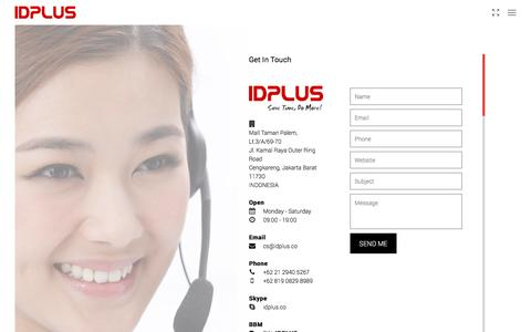 Screenshot of Contact Page idplus.co - IDPLUS | get in touch - captured Feb. 13, 2016