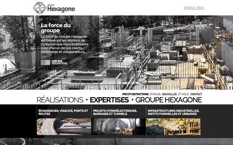 Screenshot of Home Page groupehexagone.ca - Le Groupe Hexagone, des projets industriels menés d'une main de maître | Groupe Hexagone - captured Oct. 3, 2014
