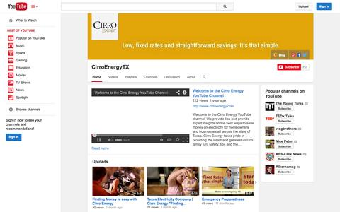 Screenshot of YouTube Page youtube.com - CirroEnergyTX  - YouTube - captured Oct. 22, 2014