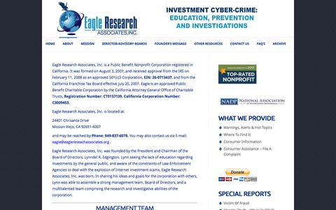 Screenshot of About Page eagleresearchassociates.org - About Us | Eagle Research Associates, Inc - captured Nov. 1, 2014