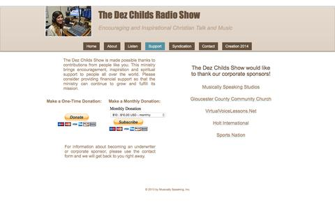 Screenshot of Support Page dezchildsradioshow.com - The Dez Childs Radio Show - Sponsors - captured April 8, 2017