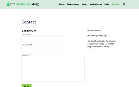 Screenshot of Contact Page free-meditation-music.com - Contact - Free Meditation Music - captured Oct. 19, 2018