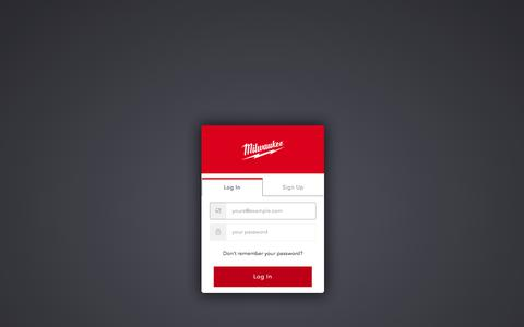 Screenshot of Login Page milwaukeetool.com - Milwaukee Tool Login - captured Dec. 23, 2019