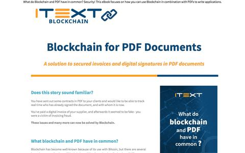 Screenshot of Landing Page itextpdf.com - Download your own copy of Blockchain for PDF documents ebookI - captured Sept. 21, 2018