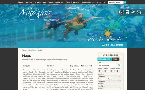 Screenshot of Maps & Directions Page visitningaloo.com.au - Exmouth Visitor Centre - Maps - captured Nov. 2, 2014