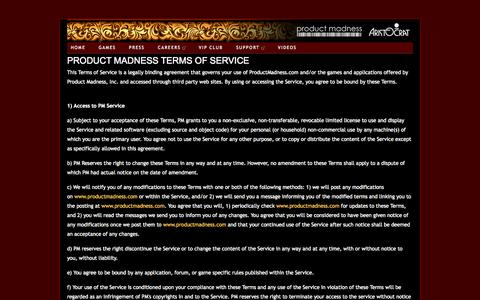 Screenshot of Terms Page productmadness.com - productmadness-aristocrat - terms of service - captured Sept. 19, 2014