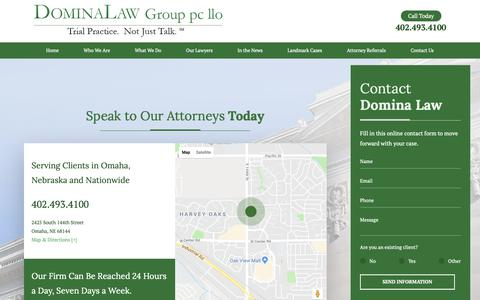 Screenshot of Contact Page dominalaw.com - Contact Us | Nebraska Trial Lawyer - captured Oct. 9, 2018