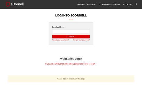 Screenshot of Login Page ecornell.com - eCornell | Log in - captured Aug. 20, 2019