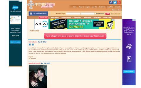 Screenshot of Testimonials Page catholicdatingforfree.com - Testimonials - Catholic Dating For Free | Online Community of Single Catholics - captured May 25, 2016