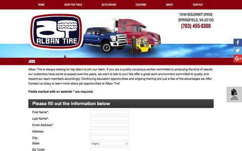Screenshot of Jobs Page albantire.com - Jobs   Alban Tire in Springfield, VA - captured July 25, 2016