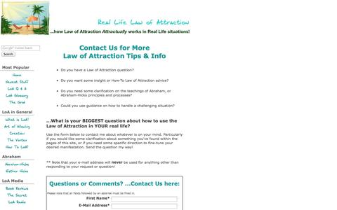 Screenshot of Contact Page real-life-law-of-attraction.com - Contact Real Life LoA with Law of Attraction questions... - captured Nov. 3, 2014