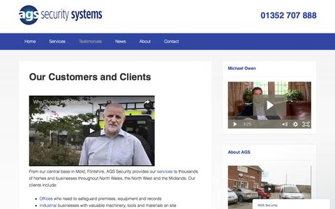 Screenshot of Testimonials Page ags-security.co.uk - Our customers : Clients : AGS Security - captured Jan. 25, 2017