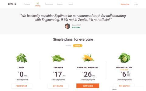 Screenshot of Pricing Page zeplin.io - Zeplin - captured Dec. 8, 2016
