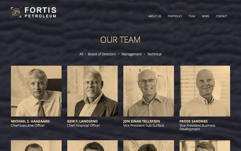 Screenshot of Team Page fortis-petroleum.com - Our Team | Fortis Petroleum - captured Jan. 8, 2016