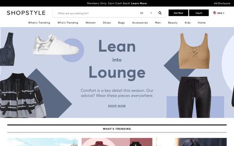 Screenshot of Home Page shopstyle.com - ShopStyle: Search and find the latest in fashion - captured Jan. 16, 2020