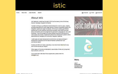 Screenshot of About Page istic.net - Istic Networks » About Istic - captured Oct. 15, 2017