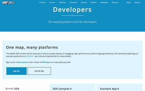 Screenshot of Developers Page eegeo.com - Developers - eeGeo - captured July 4, 2016