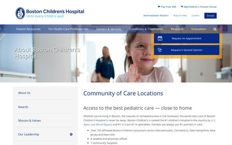 Community of Care Locations | Boston Children's Hospital