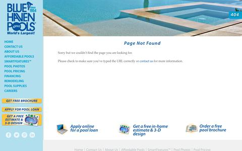 Screenshot of Pricing Page bluehaven.com - Page not found - Blue Haven Custom Swimming Pool and Spa Builders - captured Jan. 29, 2018