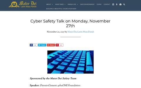 Screenshot of materdeiparish.com - Cyber Safety Talk on Monday, November 27th - Mater Dei Latin Mass Parish - captured Nov. 25, 2017