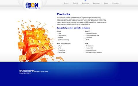 Screenshot of Products Page bcnsolexp.com - Products - captured Oct. 4, 2014