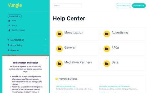 Screenshot of Support Page vungle.com - Help Center - captured July 24, 2019