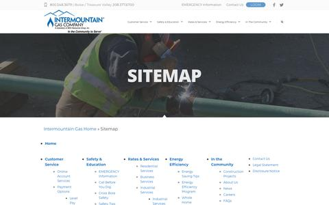 Screenshot of Site Map Page intgas.com - Sitemap - Intermountain Gas Company - captured Sept. 22, 2018