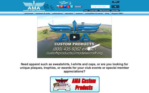 Screenshot of Products Page modelaircraft.org - Academy of Model Aeronautics - Custom Products Home - captured Feb. 3, 2016