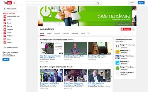 Screenshot of YouTube Page youtube.com - demandware  - YouTube - captured Oct. 22, 2014
