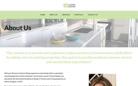 Screenshot of About Page lazaredesign.ca - About Us – Lazaredesign - captured Dec. 7, 2018