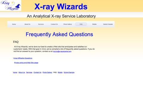 Screenshot of FAQ Page x-raywizards.com - FAQ - captured Sept. 30, 2014