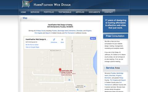 Screenshot of Maps & Directions Page hawkfeather.com - HawkFeather Web Design & Hosting - Map - captured Oct. 2, 2014