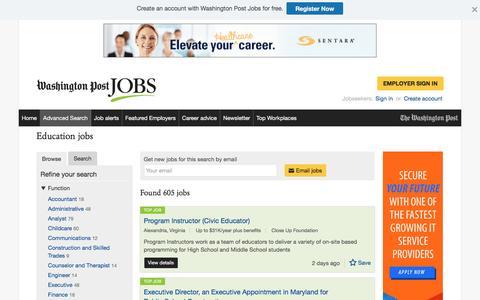 Screenshot of Jobs Page washingtonpost.com - Education jobs - captured Oct. 30, 2016