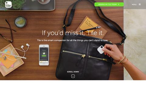 Screenshot of Home Page FAQ Page thetileapp.com - Tile - captured Sept. 17, 2014
