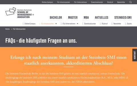 Screenshot of FAQ Page steinbeis-smi.de - Hier findest du Antworten auf häufige Fragen - captured Oct. 19, 2018