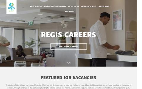 Screenshot of Jobs Page regis.com.au - Regis Aged Care Jobs | Careers in Aged Care - captured Dec. 5, 2016