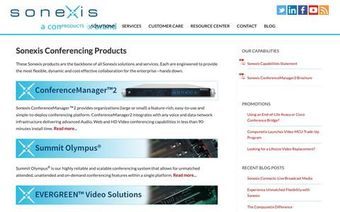 Screenshot of Products Page sonexis.com - Sonexis - Conferencing Products - Audio, Web & Video Conferencing Services - captured Oct. 19, 2018