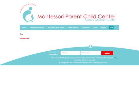 Screenshot of Blog montessoriparentchildcenter.org - Montessori Parent Child Center – Boston, Massachusetts - Blog - captured July 9, 2018