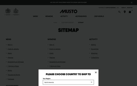 Screenshot of Site Map Page musto.com - Sitemap │ Musto - captured Nov. 6, 2018