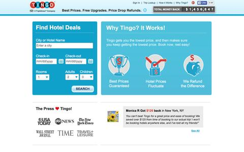 Screenshot of Home Page tingo.com - Tingo | Find Hotel Deals, Best Prices, Free Upgrades & Price Drop Refunds - captured Feb. 15, 2016