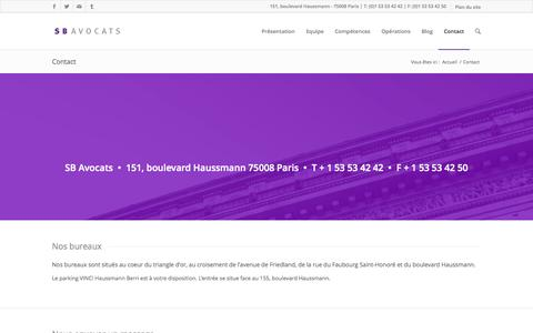 Screenshot of Contact Page sbavocats.com - Contact - SB Avocats - captured Sept. 30, 2014