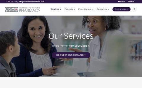 Screenshot of Services Page womensinternational.com - Services | Women's International Pharmacy - captured Nov. 5, 2019