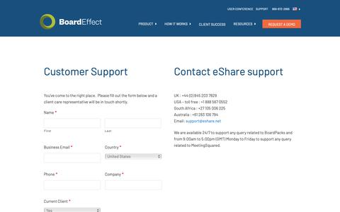 Screenshot of Support Page boardeffect.com - Contact Customer Support | BoardEffect - captured May 1, 2019
