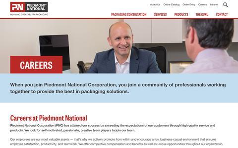 Screenshot of Jobs Page piedmontnational.com - Careers - Piedmont National Corporation   Piedmont National Corporation - Inspiring Greatness in Packaging - captured July 17, 2018