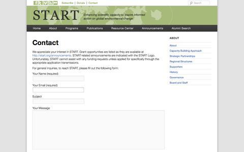Screenshot of Contact Page start.org - Contact | START - captured Oct. 6, 2014
