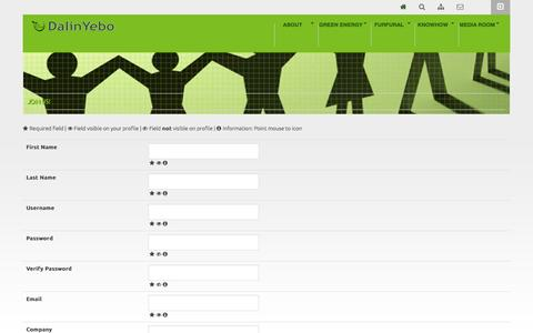 Screenshot of Signup Page dalinyebo.com - Sign up | DalinYebo: Biomass to Chemicals & Energy - captured Nov. 3, 2014