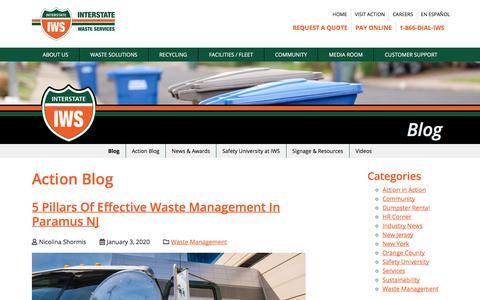 Screenshot of Blog interstatewaste.com - Blog | Interstate Waste Services - captured Jan. 6, 2020