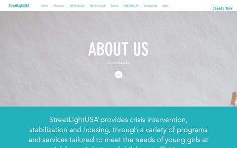 Screenshot of About Page streetlightusa.org - streetlightusa | About Us - captured Nov. 18, 2018