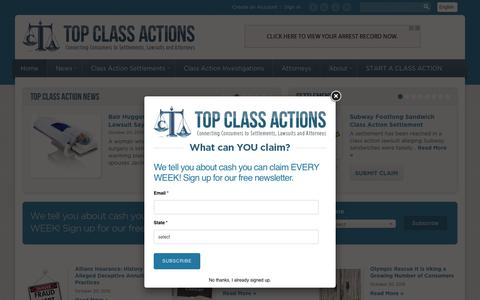 Screenshot of Home Page topclassactions.com - Top Class Actions Connects Consumers to Class Action Lawsuits and Settlements - captured Oct. 20, 2015